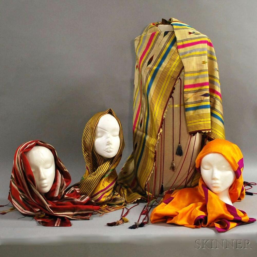 Sixteen Multicolored Woven Keffiyehs/Headcloths