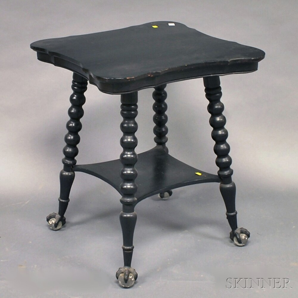 Victorian Ebonized Oak Parlor Table with Glass Ball and Claw Feet