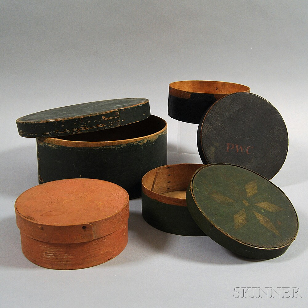 Four Round Painted Pantry Boxes