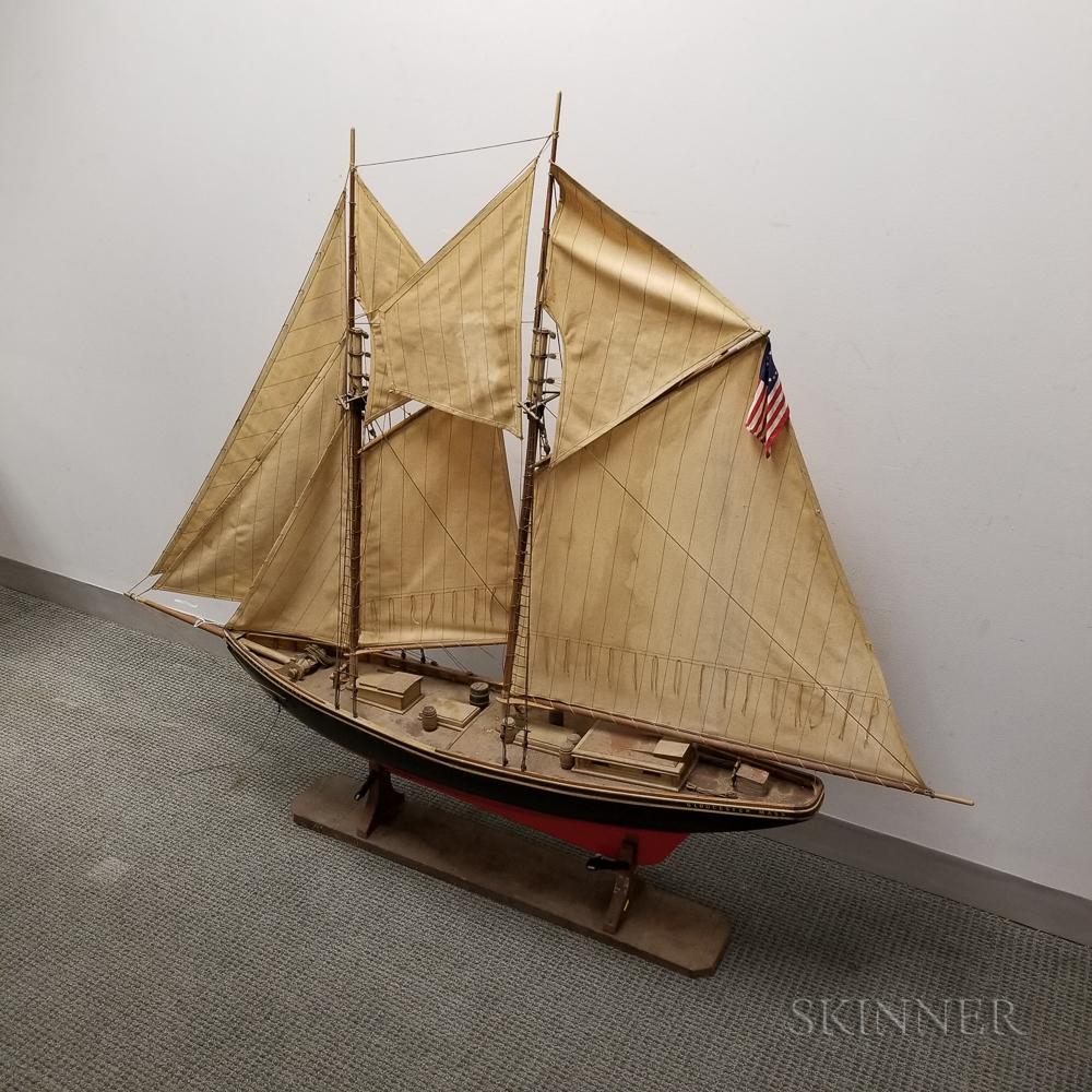 Large Carved and Painted Wood Ship Model of the Gertrude L. Thebaud