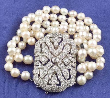 Platinum, Natural Pearl, and Diamond Five-Strand Bracelet