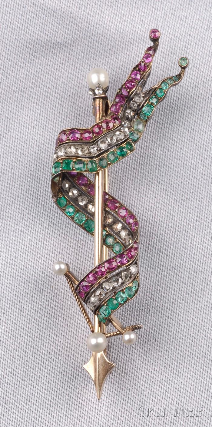 Antique Gem-set Ribbon Brooch