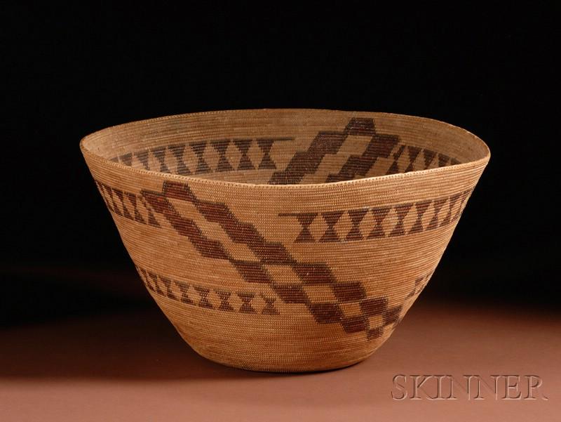 California Polychrome Coiled Basketry Bowl