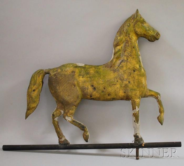 Gilt Molded Copper Prancing Horse Weather Vane
