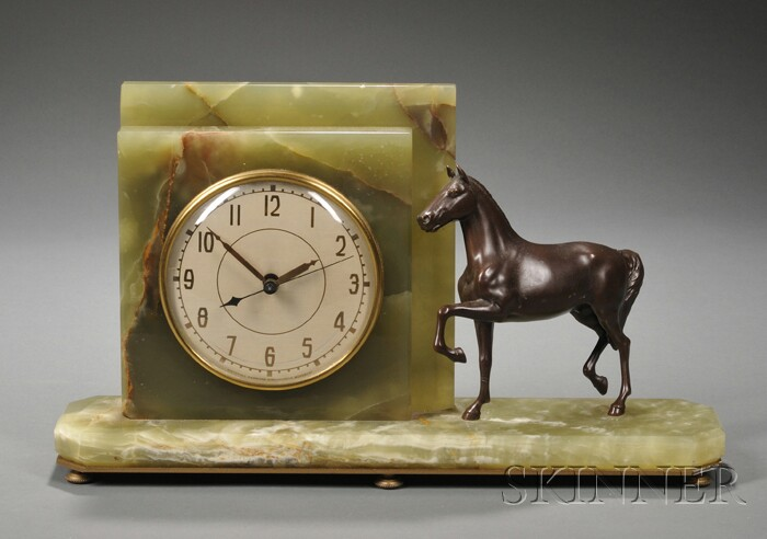 Whitehall Hammond Onyx Electric Clock with Horse Figure