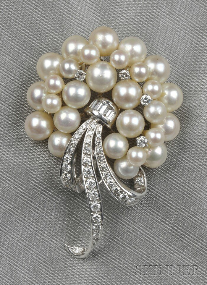 14kt White Gold, Cultured Pearl, and Diamond Pendant/Brooch