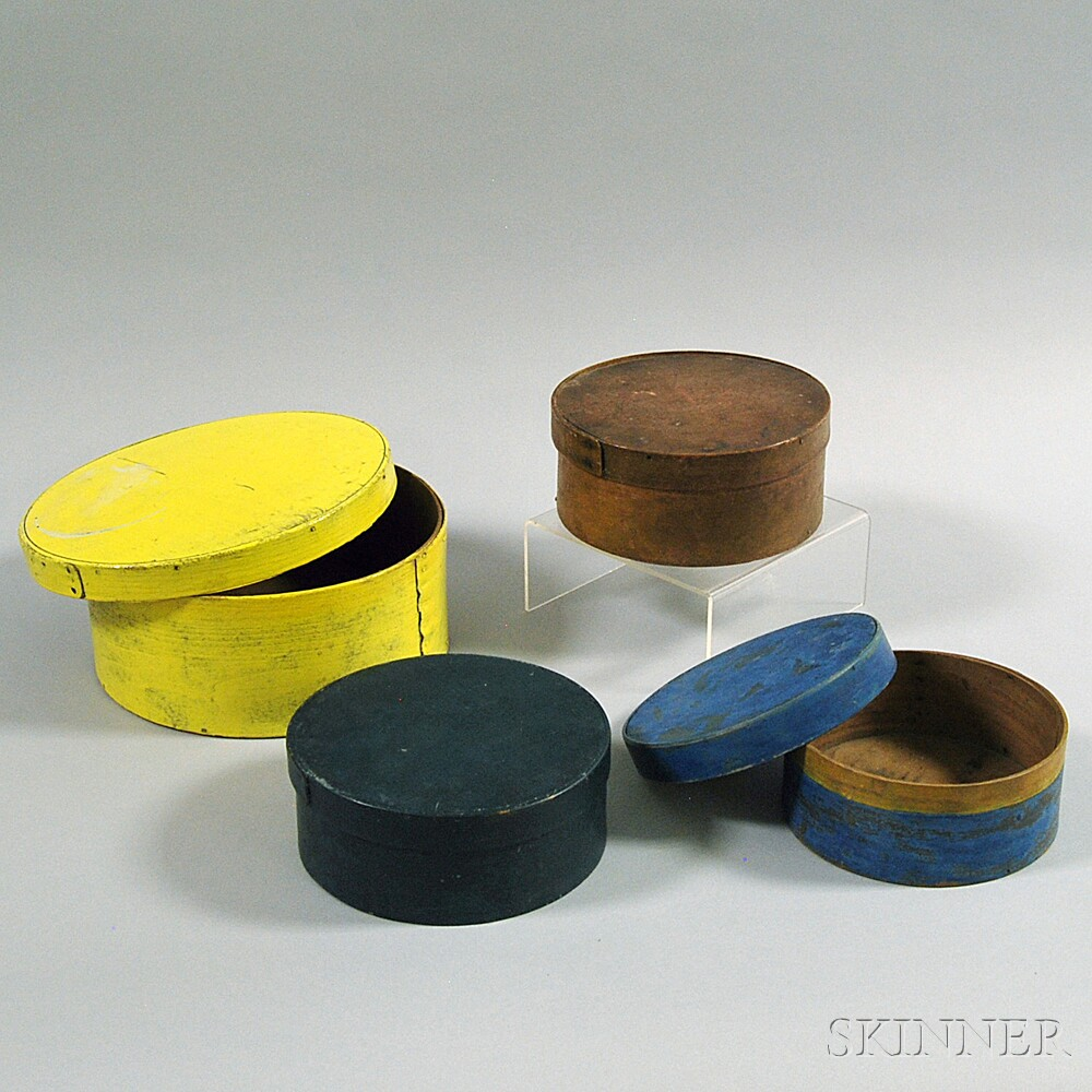 Four Painted Round Pantry Boxes