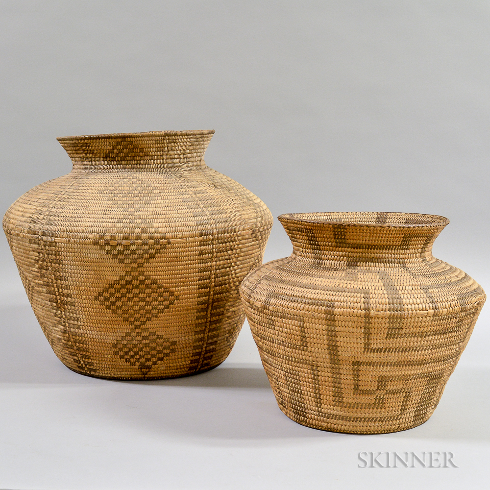 Two Pima Basketry Ollas