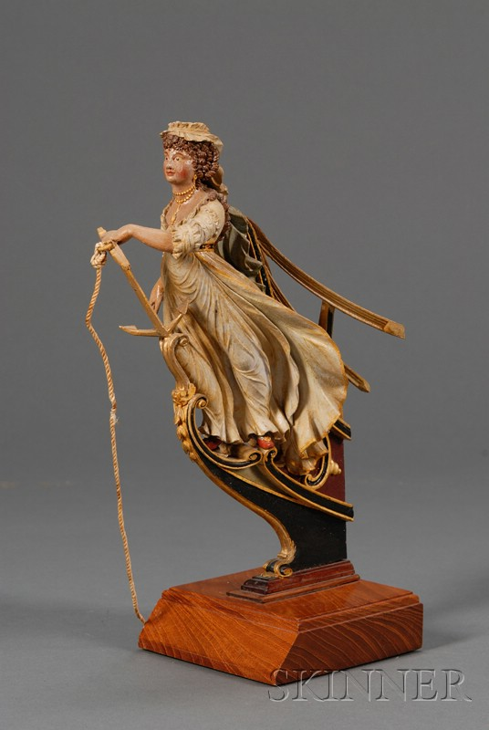 Miniature Carved and Painted Wooden Ship's Figurehead