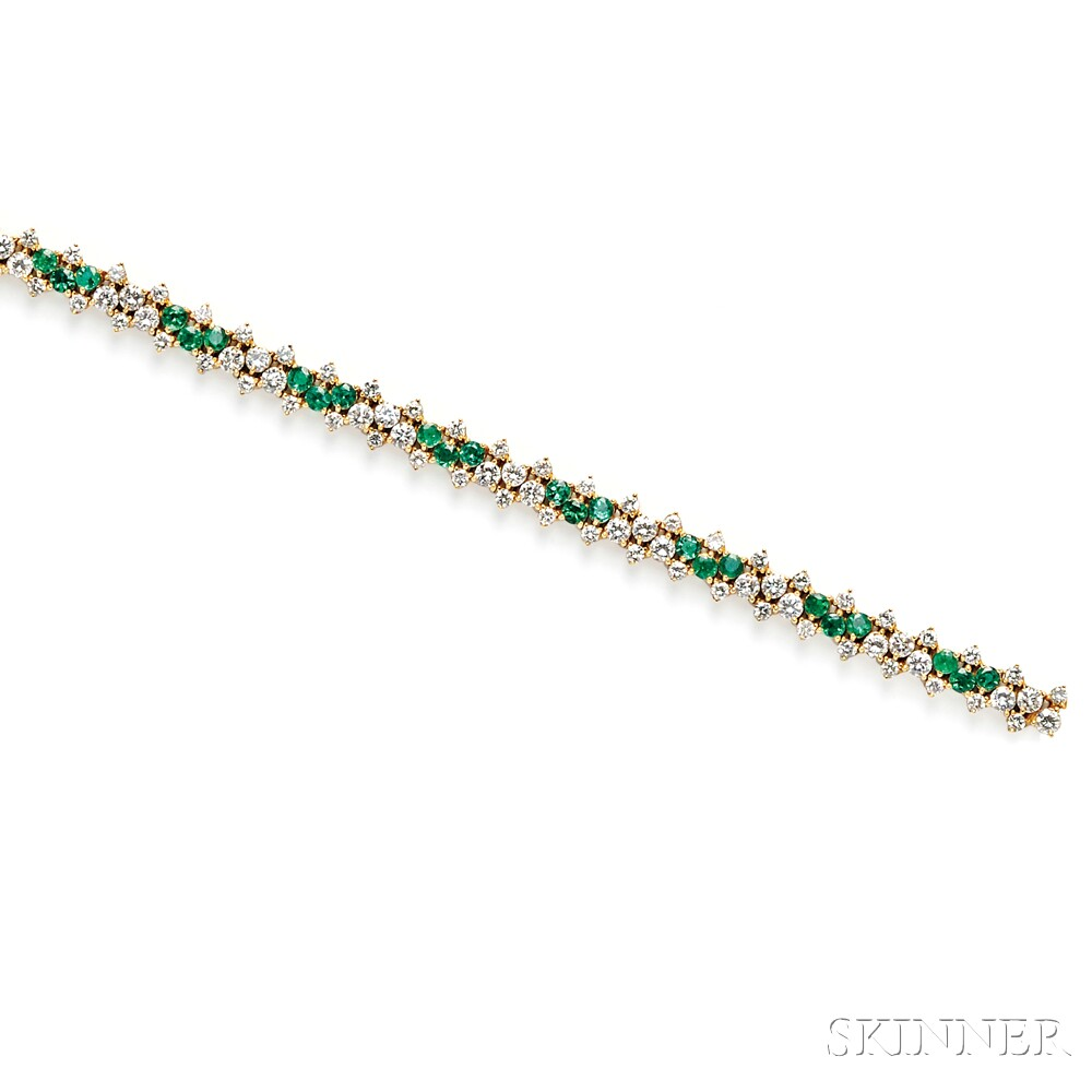 18kt Gold, Emerald, and Diamond Bracelet