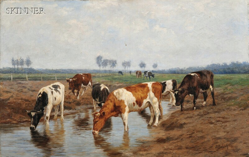 Hermann Baisch (German, 1846-1894)      Cattle Watering