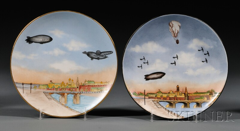 Pair of Soviet Porcelain Plates with Airplanes