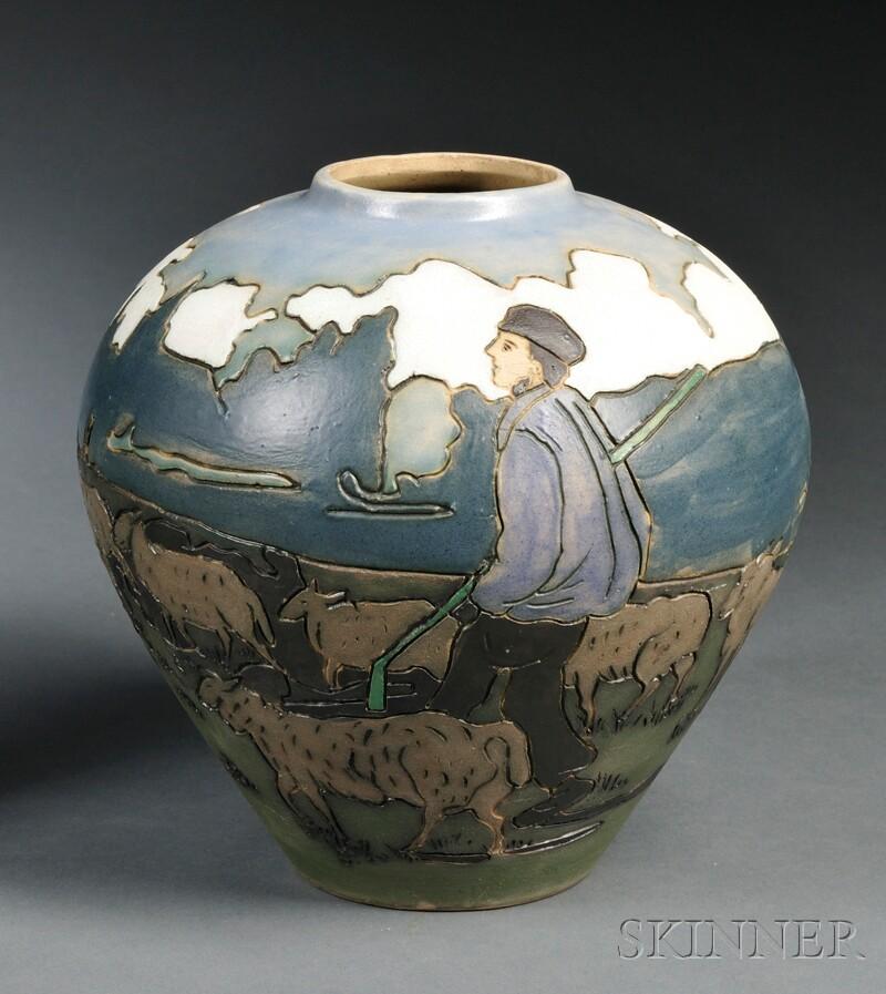 Distel Gouda Pottery Matte Glaze and Incised Vase