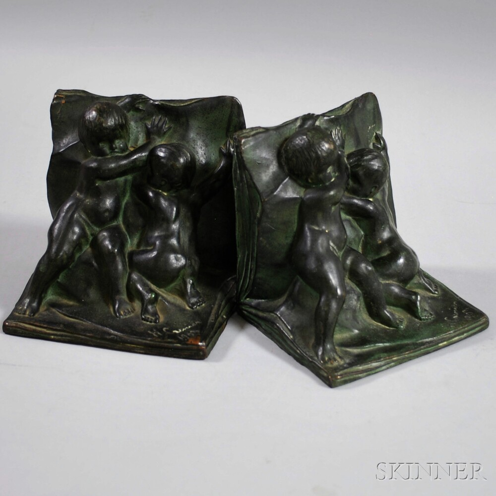 NAL Co. Patinated Metal Figural Bookends