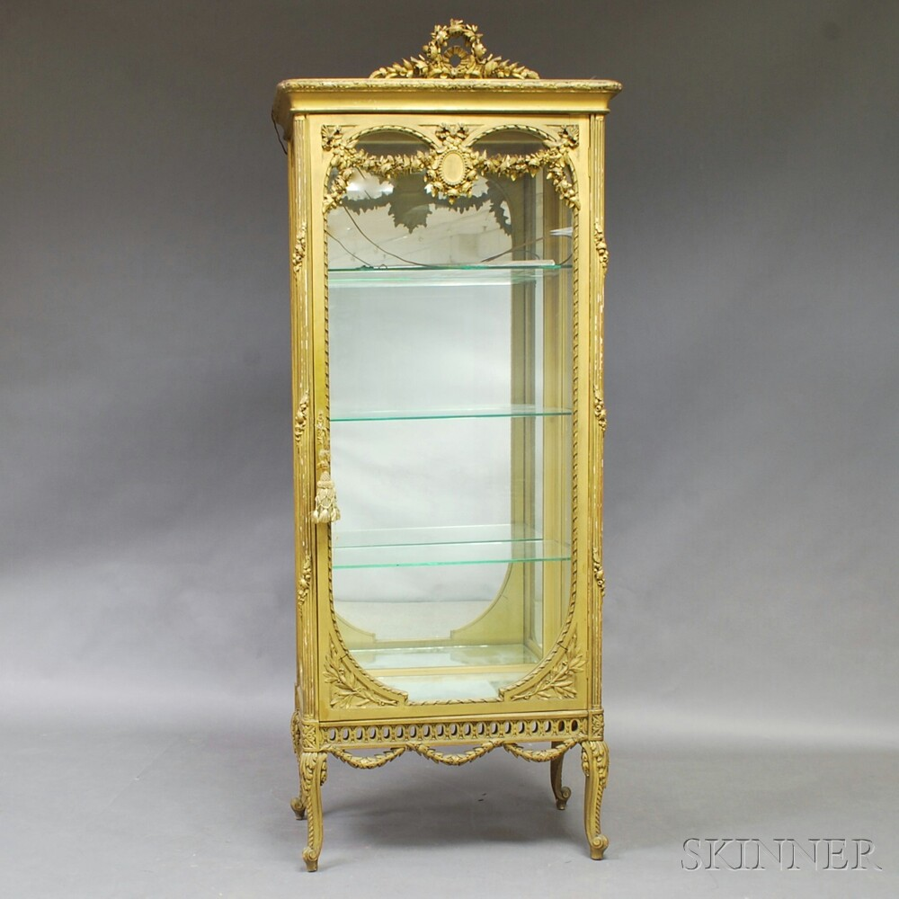 Louis XV-style Painted Gesso and Mirrored Vitrine