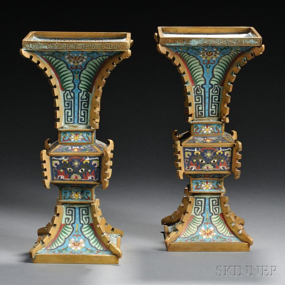 Pair of Cloisonne Gu   Vases