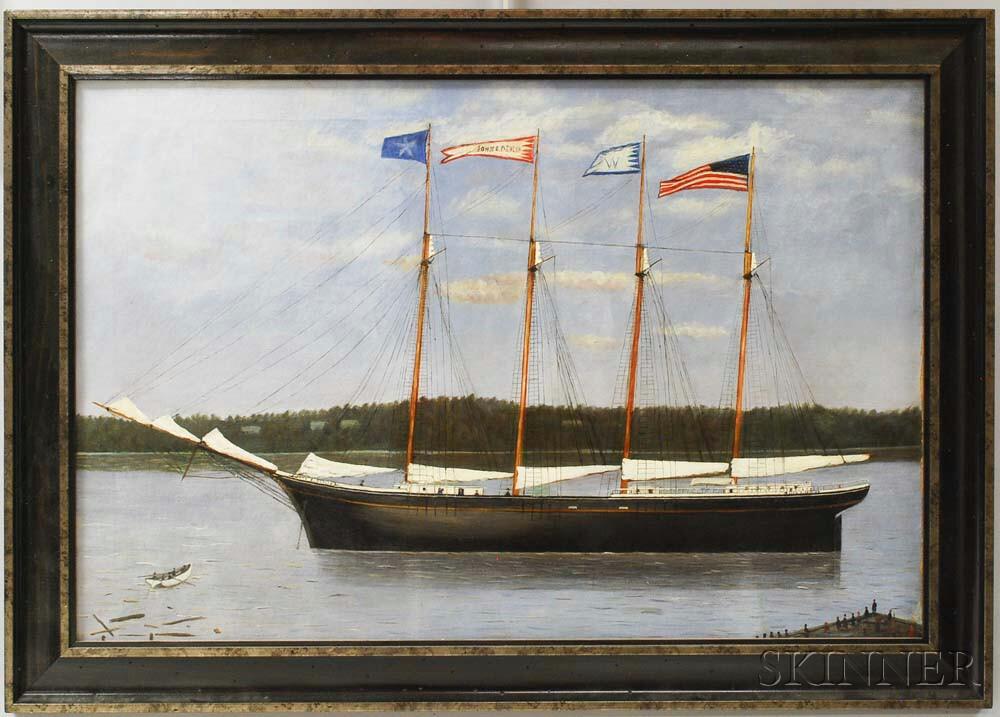 Framed Oil on Canvas Ship Portrait of the John E. Devlin