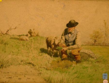 Watercolor of Man Feeding Lambs