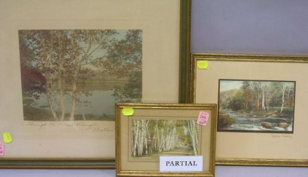 Three Signed Wallace Nutting Prints and Three Other Hand Colored Photographs