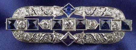 Art Deco Platinum, Sapphire, and Diamond Brooch