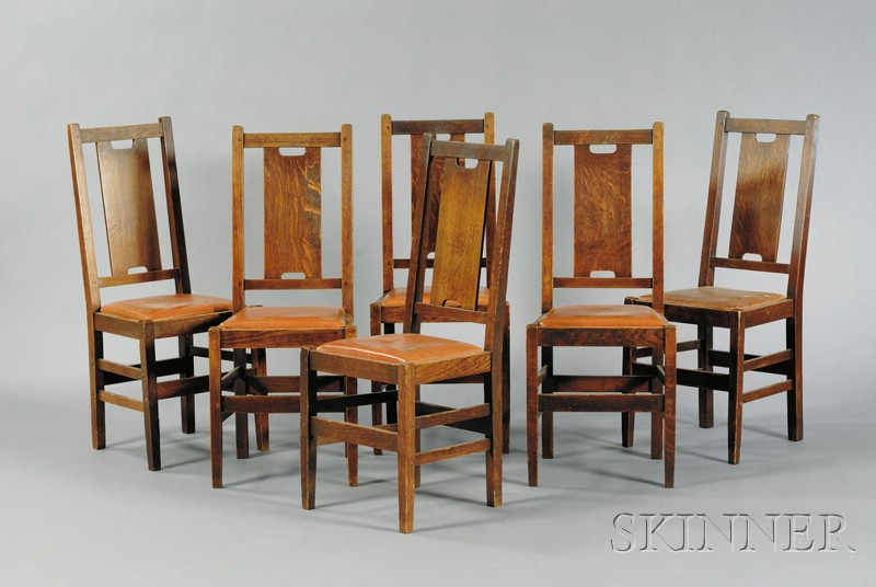 Six Arts & Crafts Dining Chairs