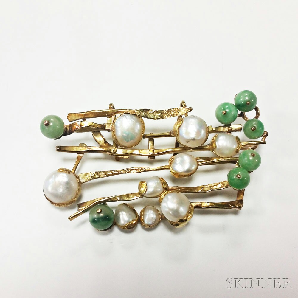 Two 18kt Gold, Jade, and Baroque Freshwater Pearl Pendants, Janiye
