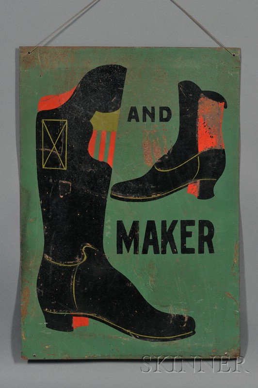 Painted Tin Boot and Shoemaker's Trade Sign