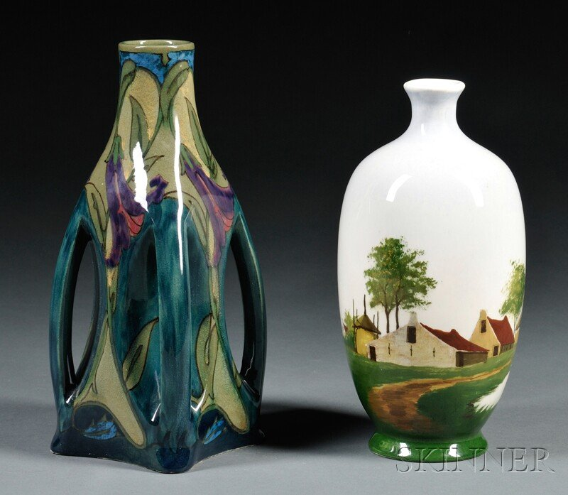 Two Gouda Pottery High Glaze Vases