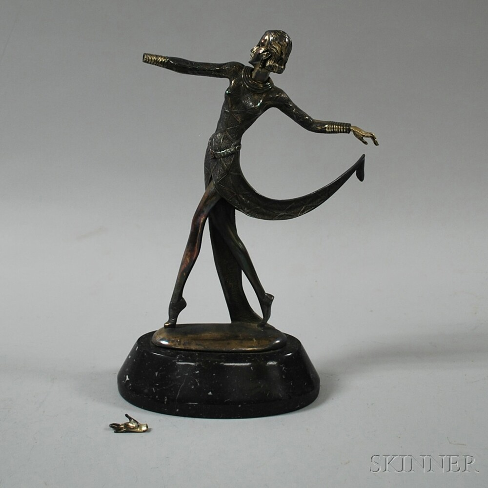 Silvered-metal Dancing Figure of a Woman