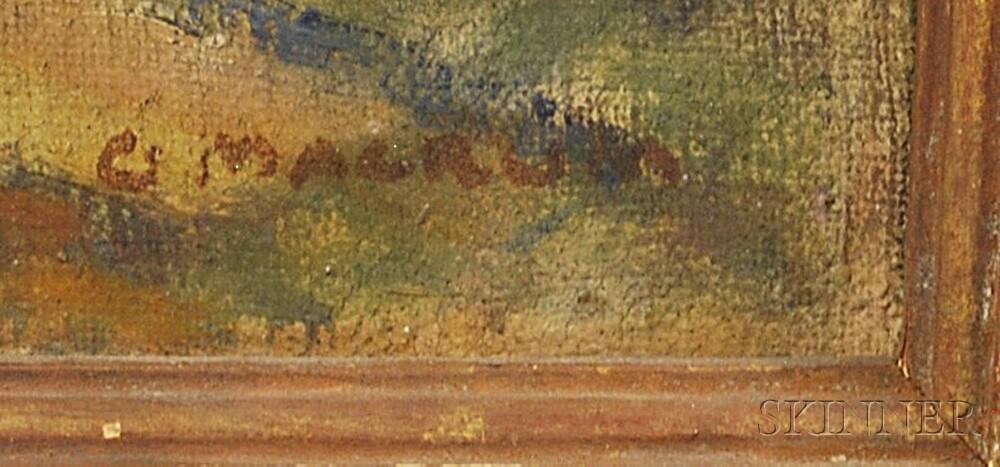 George Herbert Macrum (American, 1878-1970)      Three Paintings:   Mountain Hill and Town