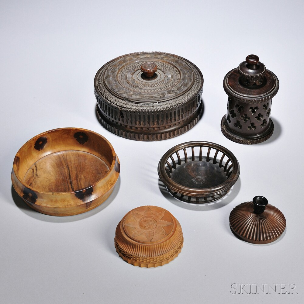 Six Ornamentally Turned Objects