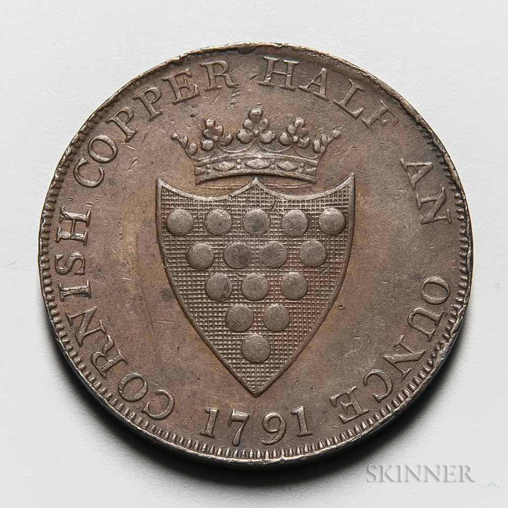 "1791 Cornwall ""Cornish Copper Half An Ounce"" Halfpenny Conder Token, DH-2"