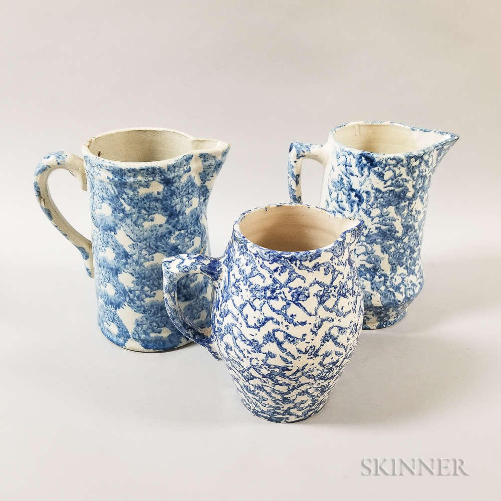 Three Blue and White Spongeware Ceramic Pitchers