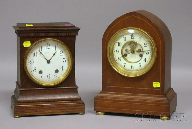 Two Mahogany Connecticut Mantel Clocks