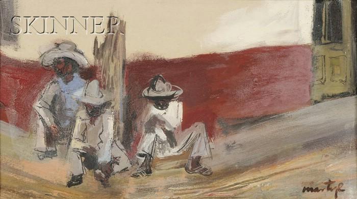 Martyl Schweig Langsdorf (American, b. 1918)      Lot of Two Framed Works:  Three Seated Men at a Village Corner