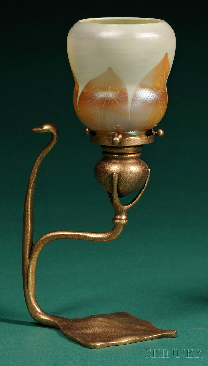 Tiffany Studios Dore Candlestick with Decorated Shade