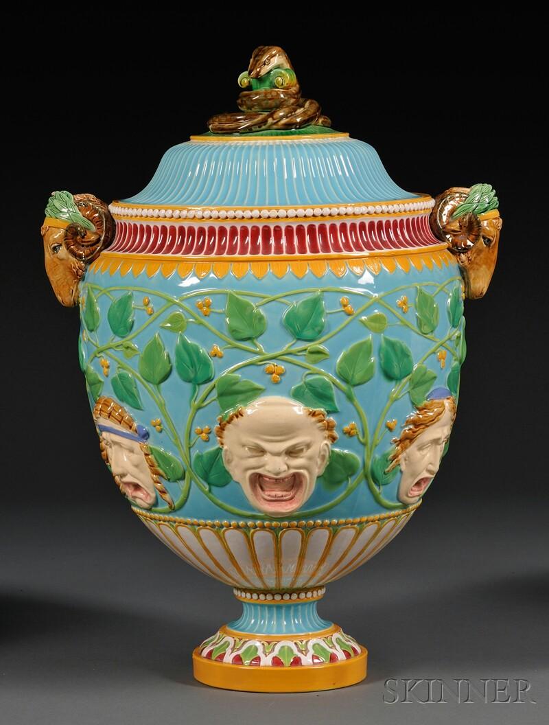 Minton Majolica Vase and Cover