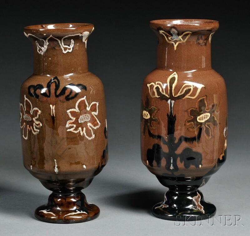 Pair of Rozenburg den Haag Gouda Pottery High Glaze Vases