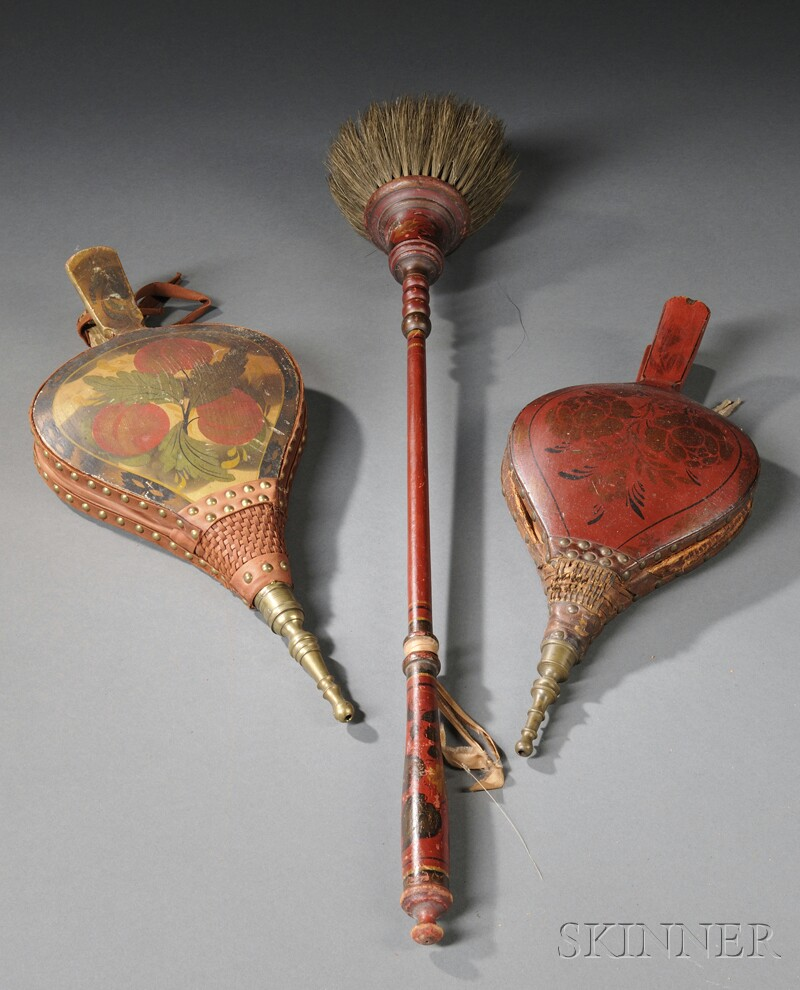 Two Paint-decorated Bellows and a Hearth Broom