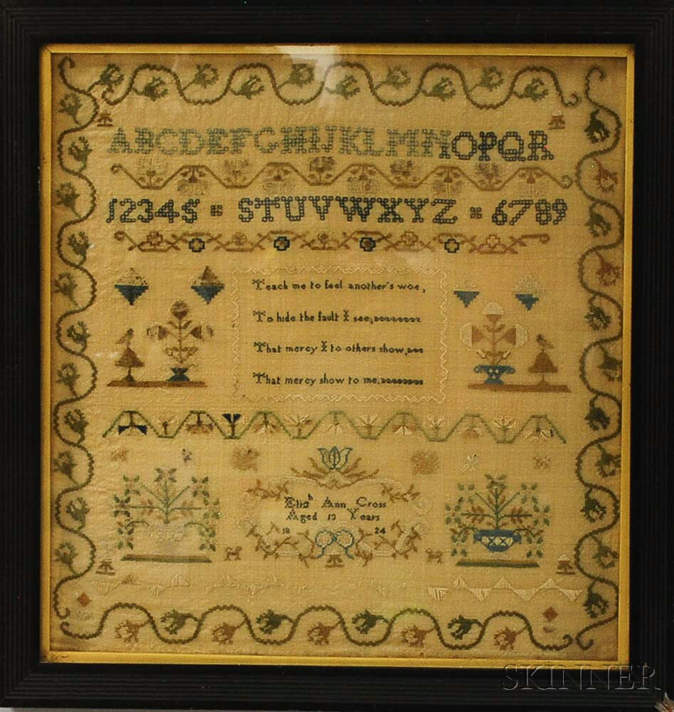 """Framed Needlework Sampler """"Elizabeth Ann Cross,"""""""
