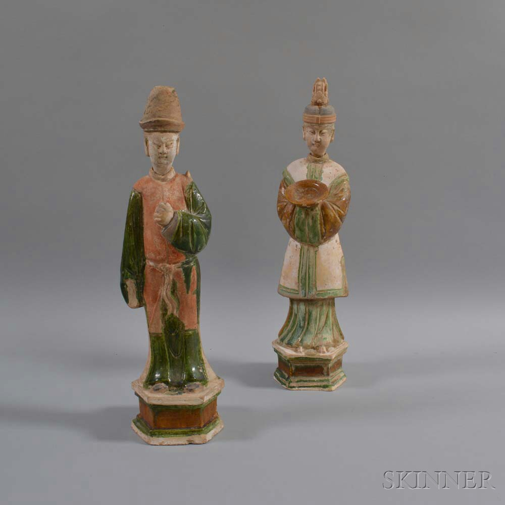 Two Ming-style Polychrome Pottery Figures