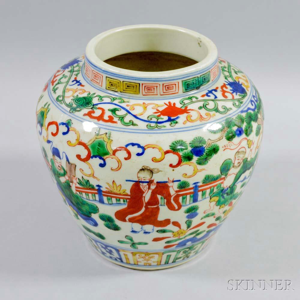 Wucai Famille Verte Jar