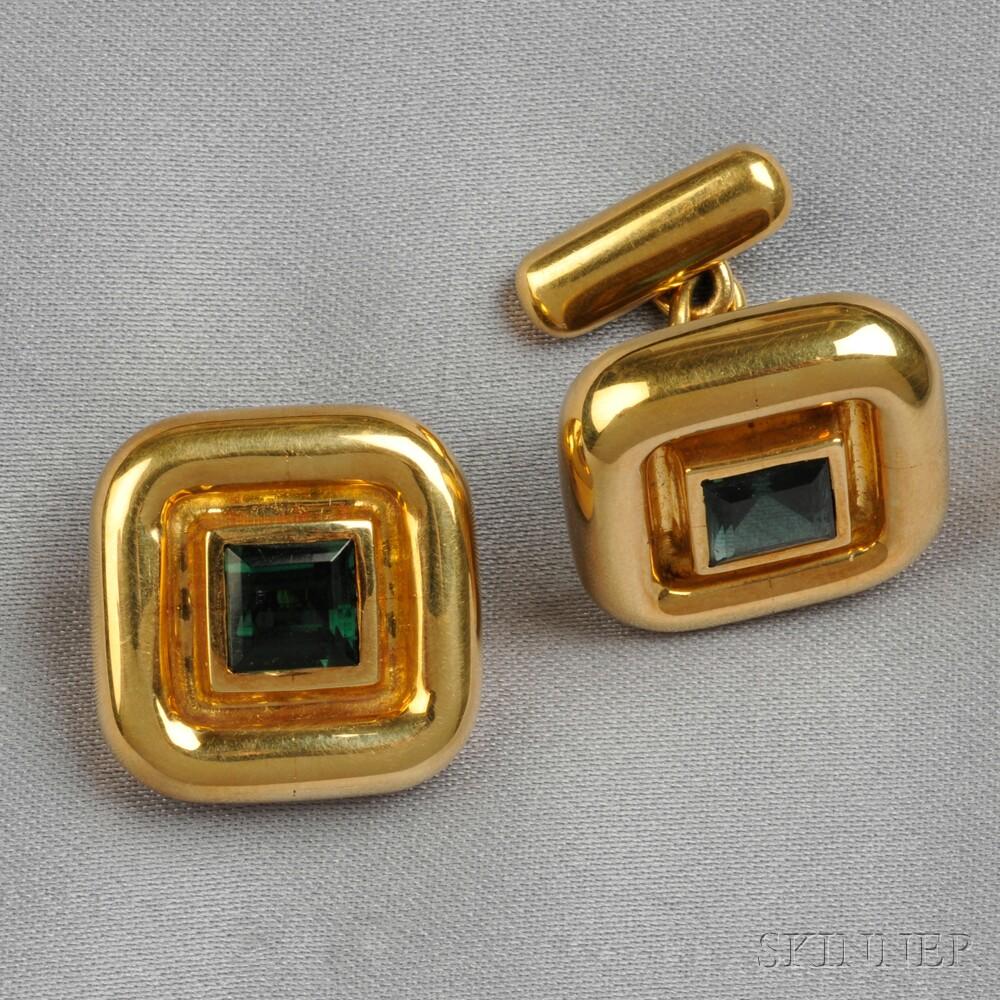 18kt Gold and Green Tourmaline Cuff Links