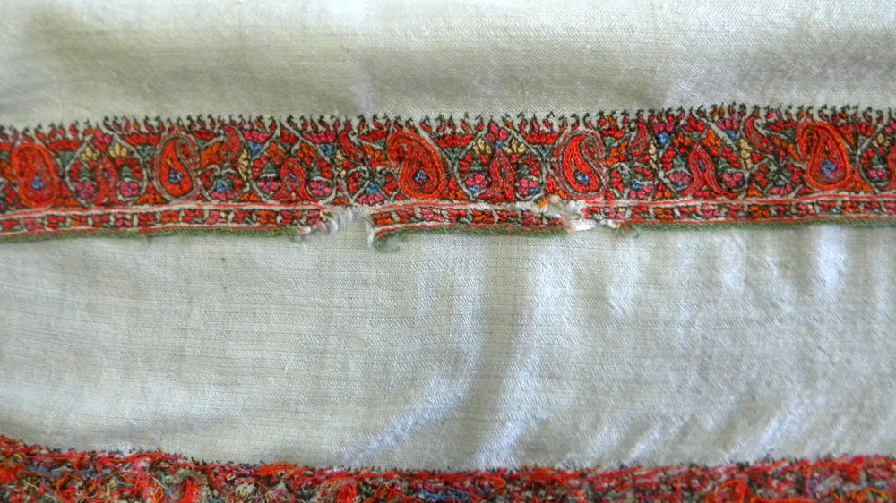 Two Cashmere Shawls with Embroidered Designs