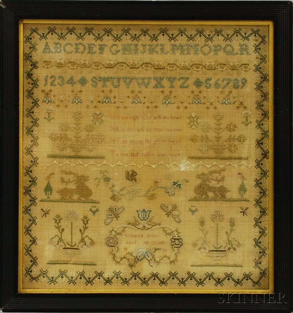 "Framed Needlework Sampler ""Rebecca Cross,"""