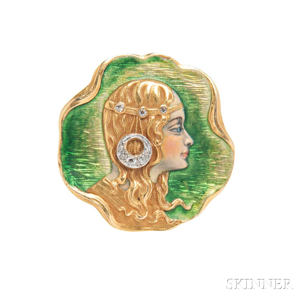 Art Nouveau 18kt Gold, Enamel, and Diamond Watch Pin