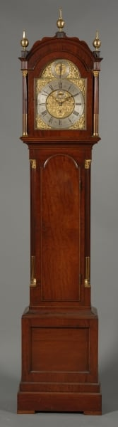 George III Style Quarter Chiming and Brass Mounted Mahogany Longcase Clock