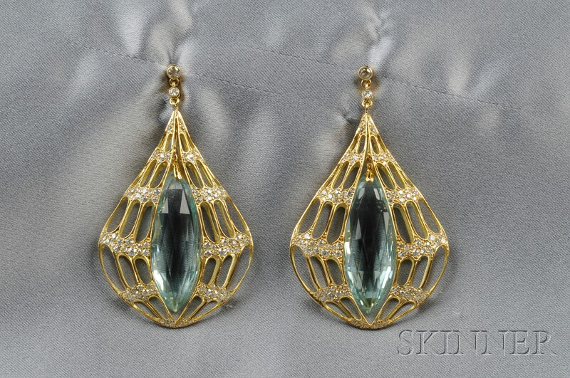 18kt Gold, Aquamarine, and Diamond Earpendants, Evelyn Clothier