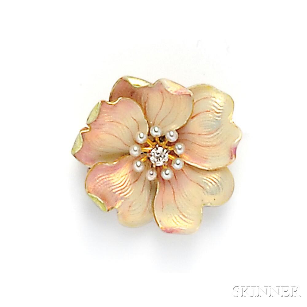 Art Nouveau 14kt Gold, Enamel, and Diamond Flower Brooch, Whiteside & Blank