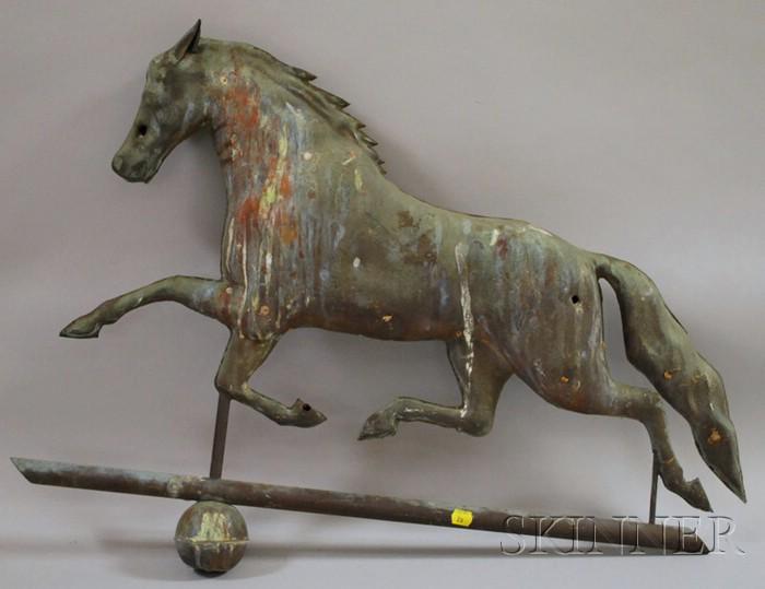 Molded Copper Full-body Running Horse Weather Vane